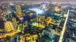 night illumination roof top hotel city river panorama 4k time lapse bangkok thailand