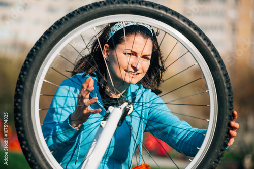 Angry woman with bike problem Poster