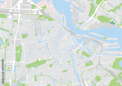 Plakat wektorowa mapa miasta Amsterdam, Holandia