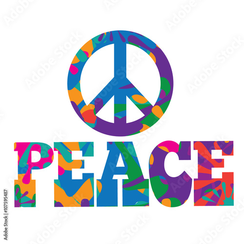 Photo  Sixties style mod pop art psychedelic colorful Peace text design