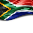canvas print picture - South Africa flag of silk with copyspace for your text or images and White background