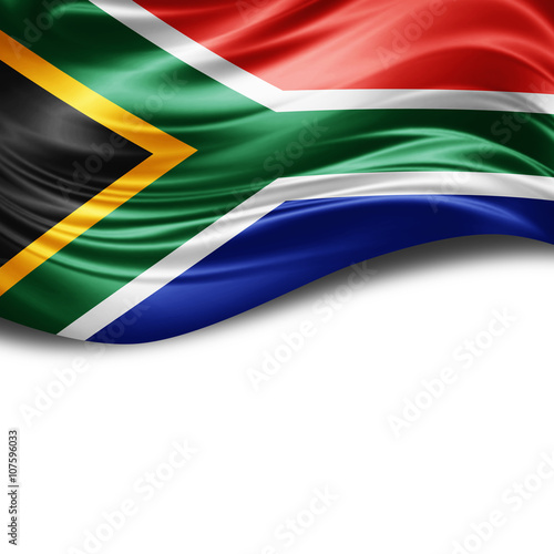 South Africa flag of silk with copyspace for your text or images and White background
