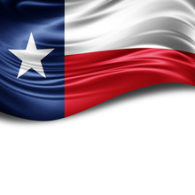 Texas Flag Of Silk With Copyspace For Your Text Or Images And White Background
