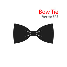 Bow Tie Vector Flat Icon Isolated On White Background.