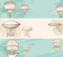 Vintage Banners With Air Balloons