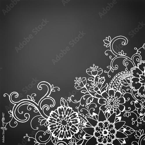 Perfect Hand Drawn Doodle Flower Border On Black Chalkboard Background, Fresh Fun  Wild Flower Spring Design