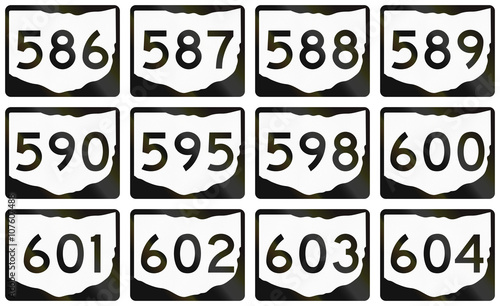Fotografia  Collection of Ohio Route shields used in the United States