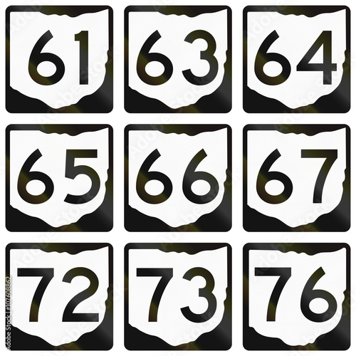 Poster  Collection of Ohio Route shields used in the United States