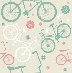 Tapeta Seamless pattern with retro bicycles and flowers