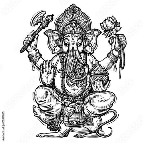 Hand drawn sketch vector illustration Ganesh Chaturthi Poster
