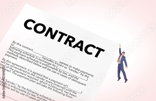 Fotografie, Obraz  Businessman hanging from a contract, concept of risk and failure