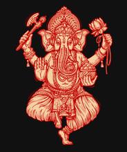 Happy Ganesh Chaturthi. Vector Illustration Of Hindu Lord