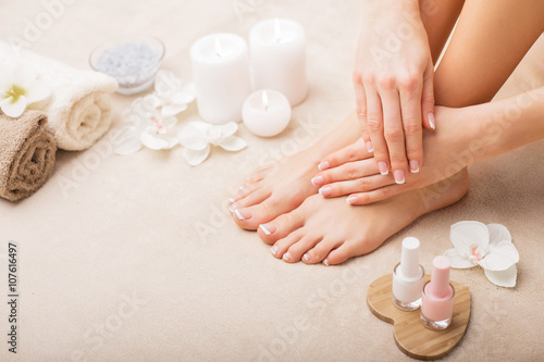 Foto op Canvas Manicure French manicure and pedicure