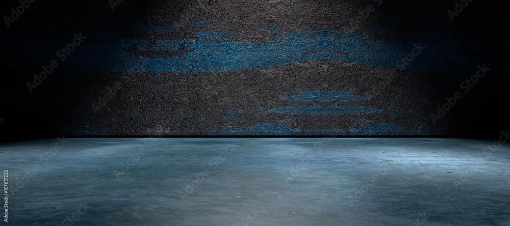Fototapeta Fondo abstracto,suelo de cemento y pared de la calle en la oscuridad. hormigon