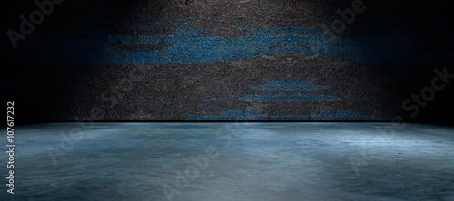 Fotografie, Tablou Fondo abstracto,suelo de cemento y pared de la calle en la oscuridad