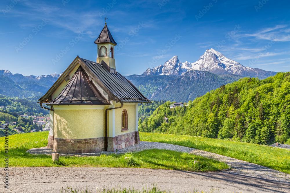 Fototapety, obrazy: Lockstein Chapel with Watzmann in Berchtesgaden, Bavaria, Germany