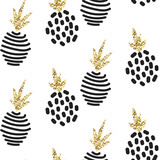 Glitter scandinavian abstract pineapple ornament. Vector white gold seamless pattern collection. Modern shimmer details stylish texture. - 107621018