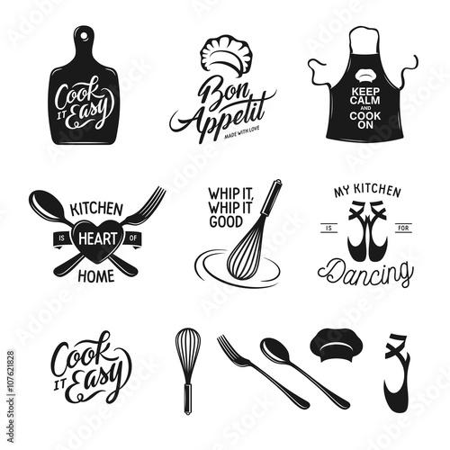 Fotografía Kitchen related typography set
