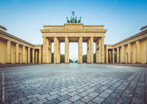 Brandenburg Gate at sunrise, Berlin, Germany Poster