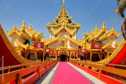 Entrance of the Karaweik palace in Yangon, Myanmar (former Burma)