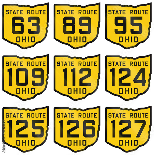 Fotografia  Collection of historic Ohio Route shields from 1920 used in the United States