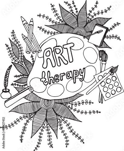 Stampa su Tela Art set for adult coloring page