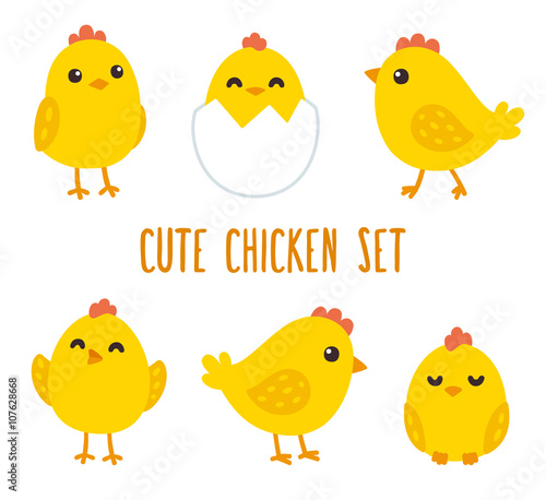 Cute cartoon chicken set Fototapet