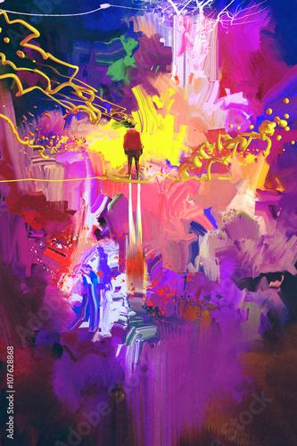 Fotografie, Obraz  Muž stojící na abstraktní barevné místě, ilustrace malba