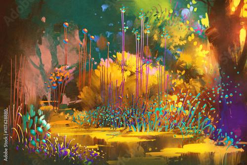 las fantasy z kolorowymi roślinami i kwiatami, malarstwo ilustracyjne