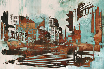 Fototapetaurban cityscape with abstract grunge,illustration painting