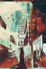 Fototapetawoman standing against abstract achitecture with grunge texture,illustration art.