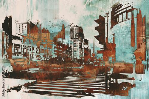 miejski pejzaż z abstrakcyjnym grunge, malarstwo ilustracyjne