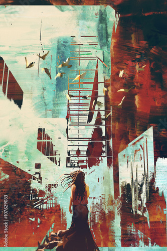 woman standing against abstract achitecture with grunge texture,illustration art. - 107629083