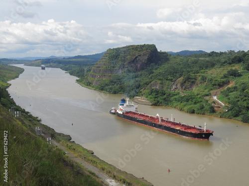 Cargo ship crossing Panama canal
