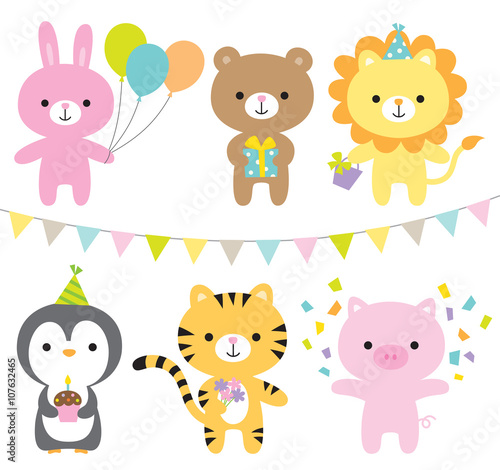 plakat Vector illustration of animals including rabbit, bear, lion, penguin, tiger, and pig at party.