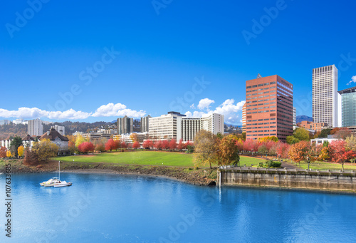 Stampa su Tela water,park,cityscape and skyline in portland
