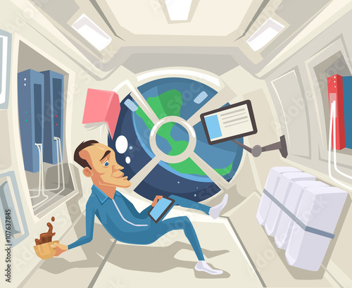 Fotografia, Obraz Astronaut in zero gravity. Vector flat cartoon illustration