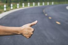 Hitchhiker Sign Thumb Up On Hi...