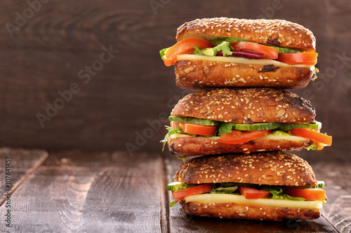 Staande foto Snack Vegetarian sandwich on wooden background with space for text
