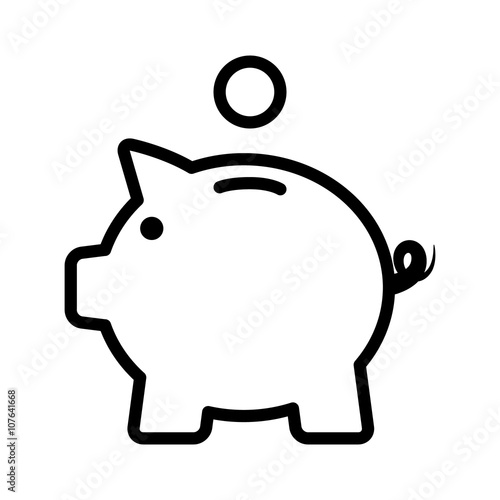 Cuadros en Lienzo  Piggy bank / piggybank with coin line art icon for apps and websites