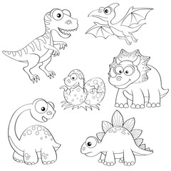 Set of cartoon dinosaurs. Black and white vector illustration for coloring book