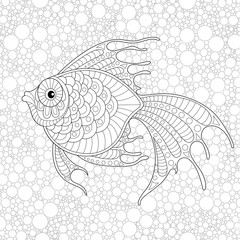 Golden fish. Adult antistress coloring page. Black and white hand drawn doodle for coloring book