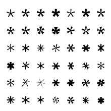 Asterisk (footnote, Star) Icons Set Black Icons Isolated Vector Illustration