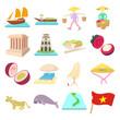 Vietnam icons set, cartoon style