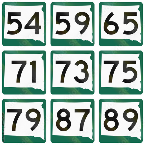 Poster  Collection of South Dakota Route shields used in the United States
