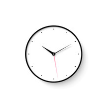 Icon Of White Clock Face With Shadow On Wall Background. Vector Illustration