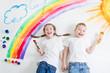 Leinwandbild Motiv kids painting rainbow