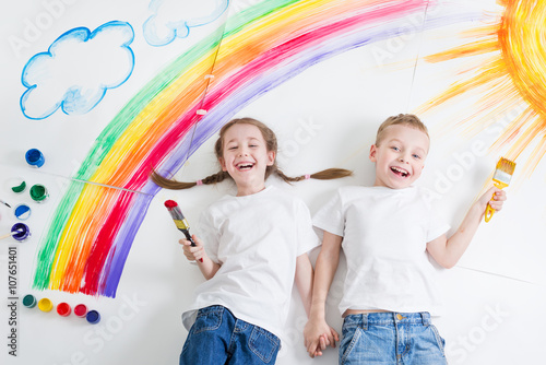 obraz dibond kids painting rainbow