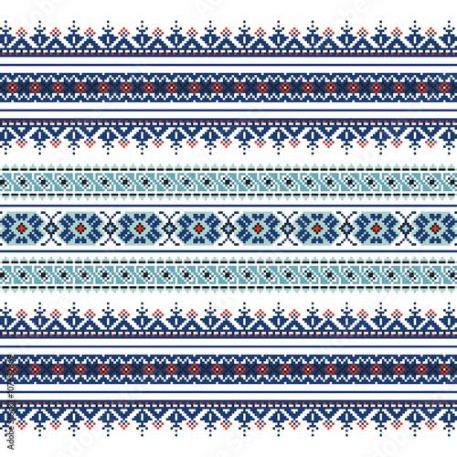 Foto auf AluDibond Boho-Stil Set of Ethnic ornament pattern in blue colors
