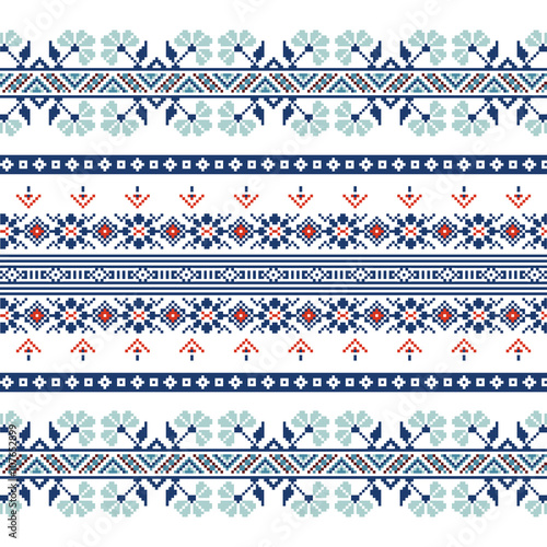 Valokuva  Set of Ethnic ornament pattern in blue colors